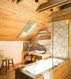 New Home Interior Design: Inspiration. A Frame Cabin, A Frame House, Cabin Homes, Log Homes, Home Interior Design, Interior And Exterior, Bathroom Inspiration, Design Inspiration, House Rooms