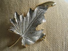 Brooch - Sparkly Maple Leaf - Gold tone and silver sparkles by cherylanngoods on Etsy