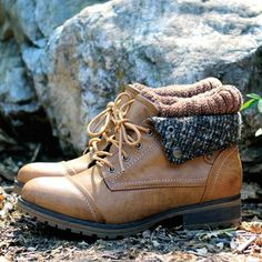 cozy womens sweater boots - tan - shophearts - 2