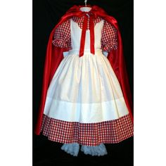 Little RED RIDING HOOD Dress/Costume Set Custom Child Size ($115) ❤ liked on Polyvore