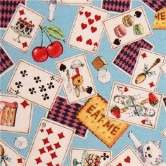 blue Cosmo Alice in Wonderland fairy tale fabric from Japan