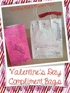 Valentine's Day Compliment Bags (great for big kids)! Each student writes a specific compliment to other students then decorates their Valentine's Day bag. So much fun and a little bit more practical than spending hours decorating bags or boxes. Valentines Day Bags, Valentine Day Crafts, Be My Valentine, Valentine Ideas, Valentine Party, Funny Valentine, Holiday Crafts, Valentines Day Activities, Holiday Activities