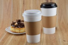 paper coffee cups, sleeves and lids Plastic Cups, Plastic Containers, Bakery Supplies, Coffee Cups, Restaurant, Paper, Tableware, Sleeves, Food