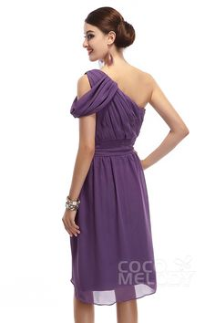 Sheath-Column One Shoulder Knee Length Chiffon Sleeveless Side Zipper Bridesmaid Dresses COKK14001#Cocomelody#bridesmaiddress#bridesmaidgown#