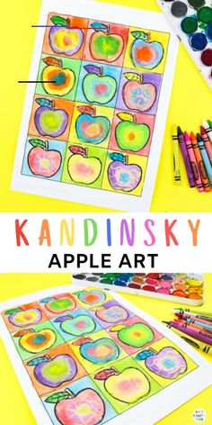 Kandinsky Inspired Apple Art | Arty Crafty Kids - #fallartprojectsforkids - Kandinsky Inspired Apple Art for Kids - A fun art and craft for early Autumn that explores colour mixing - Apple Template Available... Apple Art Projects, Fall Art Projects, School Art Projects, Projects For Kids, Art School, Art Project For Kids, Back To School Art, Arte Elemental, Fall Arts And Crafts