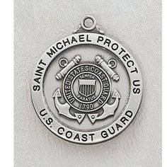 """Sterling Silver St. Michael the Archangel Military Armed Forces Coast Guard Medal with 24"""" Rhodium Chain in Gift Box. St. Michael the A..."""