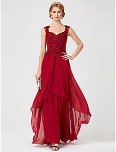 Γραμμή Α Queen Anne Μακρύ Σιφόν Δαντέλα Φόρεμα Μητέρας της Νύφης - Χάντρες Δαντέλα Πούλιες με LAN TING BRIDE®