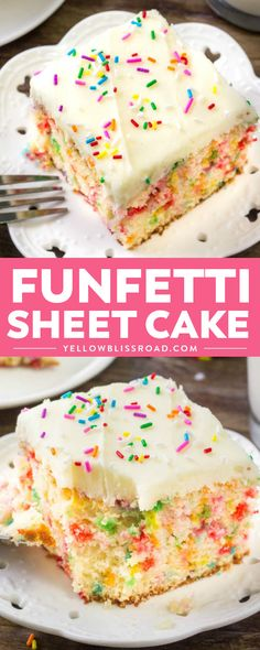 This funfetti sheet cake is everything a funfetti cake should be: moist, tender, buttery & filled with sprinkles. So goodbye to the box mix and make this easy funfetti cake recipe instead. Sheet Cake Recipes, Cake Mix Recipes, Baking Recipes, Dessert Recipes, Frosting Recipes, Cupcakes, Cupcake Cakes, Vegan Funfetti Cake Recipe, Funfetti Kuchen