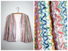 Rainbow Sequin Light Jacket / Multicolored Sequined by braxae