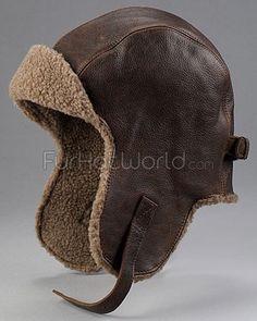 Vintage Distressed Leather Pilot Hat