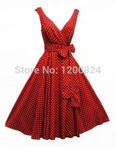 Free Shipping Hot Sale! Plus Size Rockabilly Vintage Pinup 1940s Swing Dress red white rockabilly dresses 8-24(China (Mainland))