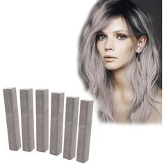 Ash Grey Hair Dye   CLOUDY   Soft Chalk Cloud   6 hair chalks for your... ($9.70) ❤ liked on Polyvore featuring beauty products, haircare, hair color and hair