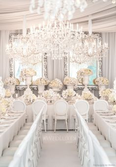 Bobka Baby and Bridal: Extraordinary White Wedding Decor All White Wedding, Cream Wedding, Perfect Wedding, White Weddings, Ivory Wedding, Indian Weddings, Elegant Wedding, Wedding Themes, Wedding Events