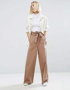 Image 4 of ASOS Wide Leg Pants with Paperbag Waist