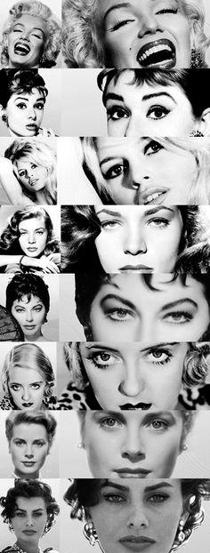 Marilyn Monroe, Audrey Hepburn, Brigitte Bardot, Lauren Bacall, Ava Gardner, Bette Davis, Catherine Deneuve and Sophia Loren