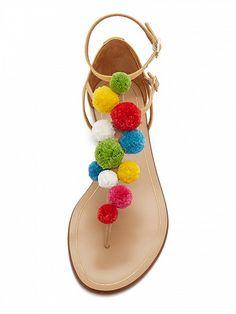 #Beige #Buckle Detail #Pom Pom #Flat #Sandals