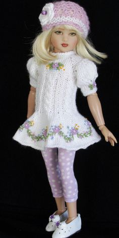 Helen Kish 14 inch Dolls Handmade Outfits. Knitted Dolls, Crochet Dolls, Crochet Clothes, Child Doll, Girl Dolls, Baby Dolls, Sasha Doll, American Girl Clothes, Doll Costume