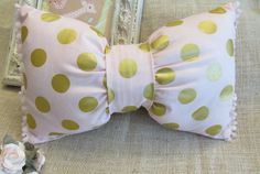 Decorative Pillow, Bow Pillow,Handmade Pillow,Chevron, Pink Pillow,Polka Dot Pillow,Pink and Gold Pillow, Reversible
