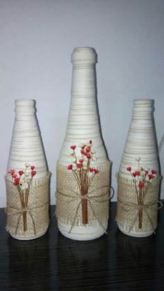 Each of these wine box designs are considered the most beautiful ways to repurpose schooner ships, each of these quick and easy DIYs make. Glass Bottle Crafts, Wine Bottle Art, Diy Bottle, Vase Crafts, Mason Jar Crafts, Baby Food Jar Crafts, Wine Bottle Centerpieces, Recycled Wine Bottles, Bottle Painting