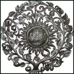 "Ornate Steel Drum Metal Art Sun Design - Haitian Oil Drum Wall Decor - 34"" - $159.95 -  Steel Drum Metal Art from  Haiti - Interior Decor or Garden Décor  - Sun Metal Wall Hanging - Sun Home Décor     * Found at  www.HaitiMetalArt.com"