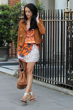 Clutch and Carry on - orange print topshop dress, bershka brown suede jacket - ootd - uk fashion blogger 3