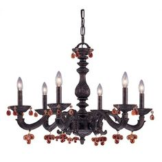 Crystorama Sutton 6 Light Crystal Candle Chandelier