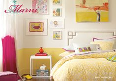 Love this little girls room. Fun color on the wall, and fun art