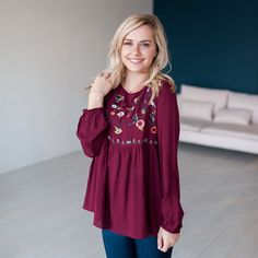 Our gorgeous embroidered tops are prefect for the season. This top feature intricate embroidery, smocking, and long bubble sleeves. They are available in 3 color variations.