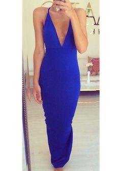 Navy Blue Plain Condole Belt Plunging Neckline Blackless Dress