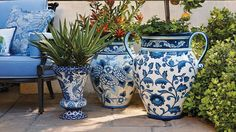 Blue and White Painted Tabletop Planter