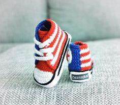 Crochet baby sneakers via Etsy