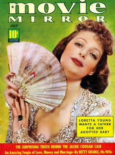 "Loretta Young on the front cover of ""Movie Mirror"" magazine, USA, July 1939."