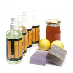 Organic Honey Bath Set - Bath set featuring shampoo, conditioner, lotion & handmade soaps with organic honey for a pampering gift basket.