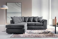Abakus Direct Jumbo Cord Corner Sofa, Settee, Full Chenille Cord Fabric in Grey[Jumbo Cord Grey Left]: Amazon.co.uk: Kitchen & Home Small Cushions, Chenille Fabric, Grey Chair, Settee, Corner Sofa, Swivel Chair, Sofa Bed, Free Delivery, Home Kitchens