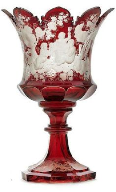 A Bohemian ruby stained footed ceremonial punchbowl, circa 1850-60