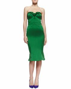 Zac Posen Strapless Sweetheart Satin Dress, Grass Green - Neiman Marcus