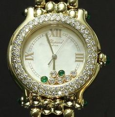 Chopard Happy Sport 18k Gold With Floating Diamonds And Emeralds Ladies' Watch