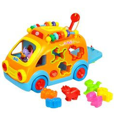 Baby Toys Innovative Vehicle Happy Bus Toy with Music & Light & Blocks Kids Early Learning Educational Toy Gifts Toy Cars For Toddlers, Kids Toys, Learning Toys, Early Learning, Toddler Gifts, Toddler Toys, Happy Bus, Toy Musical Instruments, Shapes For Kids