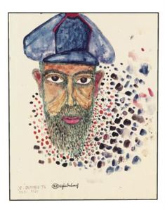 """Friedensreich Hundertwasser (1928-2000), self portrait, """"The arts should be positive, free, romantic, beautiful, something like a jewel, something which you cannot do without."""""""