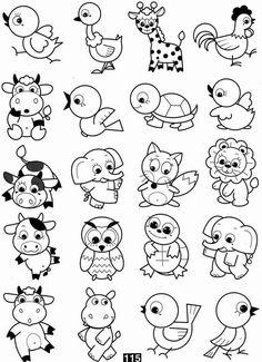 Doodle Drawings, Cartoon Drawings, Doodle Art, Animal Drawings, Easy Drawings For Kids, Drawing For Kids, Art For Kids, Colouring Pages, Coloring Books