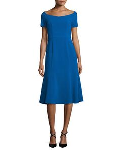 Short-Sleeve+Stretch+Jersey+Midi+Dress,+Shoreline+by+Black+Halo+at+Neiman+Marcus.