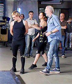 Jen giving Josh a 'wet willy' on set