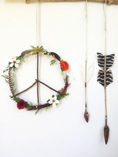 Boho Hippie Wildflowers Feathers Peace Wreath by FoundandFeathers