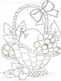 68 Ideas For Fruit Basket Drawing Paintings Hand Embroidery Patterns, Applique Patterns, Vintage Embroidery, Embroidery Stitches, Machine Embroidery, Fruit Basket Drawing, Colouring Pages, Coloring Books, Fabric Painting
