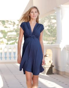Navy Knot Front Short Sleeved Maternity Dress