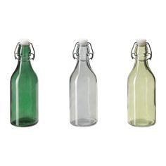 IKEA - HEMSMAK, Botella con tapón, Con tapón con abrazadera metálica para que no se salga ni una gota.