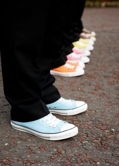 """i'm going to share a few photos from my wedding today :)  my husband and his groomsmen all worse converse, and the colour was decided by characters in """"reservoir dogs."""" i loved this look, it suited them much more than the usual black shoes."""