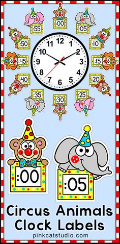 These fun circus animals theme labels will look fantastic around your classroom clock! The polka dot frames and silly clown animal characters are sure to inspire your students to practice telling time. Student worksheets are included. By Pink Cat Studio.