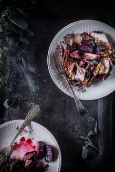 Roasted Beet & Radicchio Salad with Smoked or Blue Cheese, Honey & Citrus Oil
