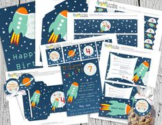 printable party pack for astronaut themed birthday. $25
